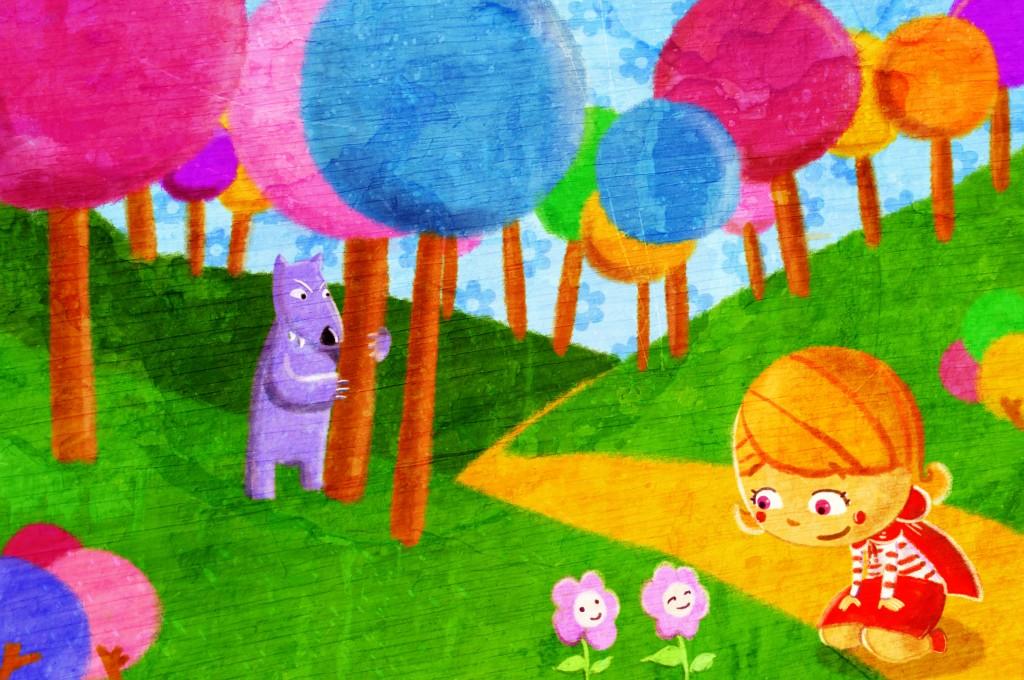 Título: Caperucita Roja: En el bosque. Ilustrador: Jesús Escudero Cuadrado. Origen: Banco de imágenes Intef.